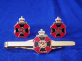 KING'S OWN RIFLE CORPS CUFF LINKS AND TIE GRIP / CLIP SET